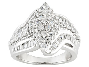 Pre-Owned Cubic Zirconia Rhodium Over Sterling Silver Ring 3.60ctw (2.05ctw DEW)