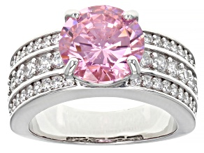 Pre-Owned Pink and White Cubic Zirconia Platinum Over Sterling Silver Ring 8.09ctw