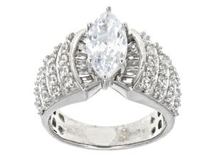 Pre-Owned Cubic Zirconia Rhodium Over Sterling Silver Ring 5.05ctw