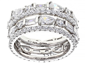 Pre-Owned White Cubic Zirconia Rhodium Over Sterling Silver Band Rings Set of Four 8.74ctw