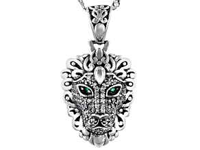Pre-Owned Green And White Cubic Zirconia Rhodium Over Sterling Silver Lion Pendant With Chain 0.90ct