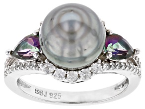Pre-Owned Cultured Tahitian Pearl, Mystic Topaz 0.89ctw, & White Zircon 0.63ctw Rhodium Over Silver