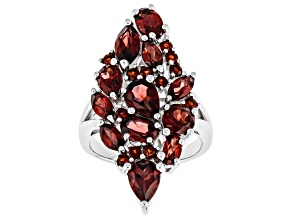 Pre-Owned Red Garnet Rhodium Over Silver Ring 6.05ctw