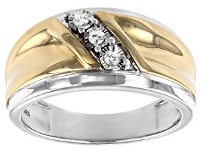 Pre-Owned White Diamond Rhodium and 14k Yellow Gold Over Sterling Silver Mens 3-Stone Ring .10ctw