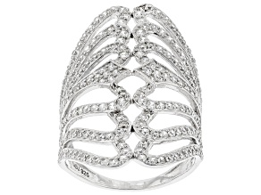 Pre-Owned White Cubic Zirconia Rhodium Over Sterling Silver Ring 3.08 ctw