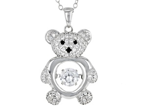 Pre-Owned White and Black Cubic Zirconia Rhodium Over Sterling Silver Bear Pendant With Chain 1.65ct