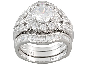 Pre-Owned White Cubic Zirconia Rhodium Over Sterling Silver Ring With Guard 3.65ctw