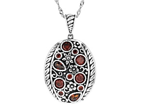 Pre-Owned Red Cubic Zirconia Rhodium Over Sterling Silver Pendant With Chain 2.73ctw