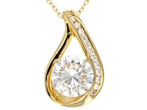 Pre-Owned White Cubic Zirconia 18k Yellow Gold Over Sterling Silver Pendant With Chain 4.97ctw