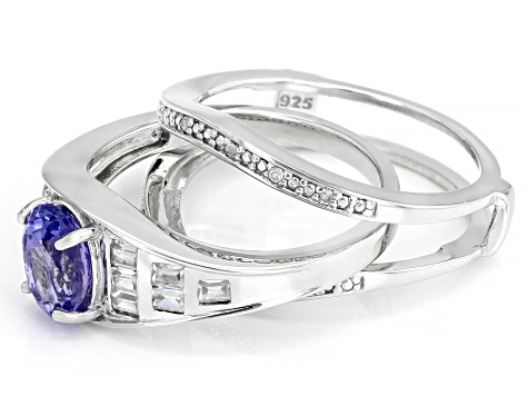 Pre-Owned Blue tanzanite rhodium over silver ring 1.54ctw