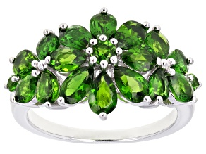 Pre-Owned Green chrome diopside rhodium over silver ring 2.84ctw