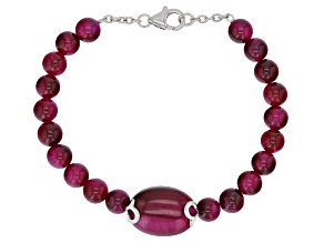 Pre-Owned Pink tiger's eye rhodium over silver bracelet