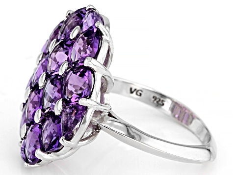 Pre-Owned Purple amethyst rhodium over sterling silver ring 6.77ctw