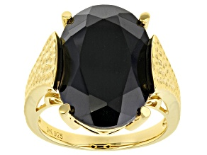 Pre-Owned Black spinel 18k yellow gold over silver ring 12.45ct
