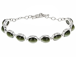 Pre-Owned Green Cats Eye Quartz Sterling Silver Bracelet
