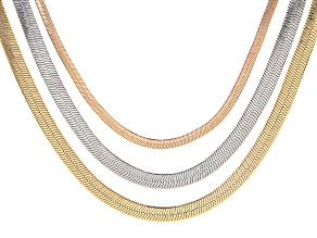 Pre-Owned Set Of Three Detachable Tri-Color Chains
