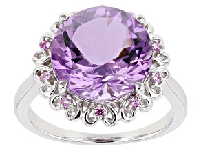 Pre-Owned Purple Amethyst Rhodium Over Silver Ring 5.44ctw
