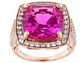 Pre-Owned 10.63ct Cushion Lab Created Pink Sapphire and 1.50ctw White Zircon 18k Rose Gold Over Silv