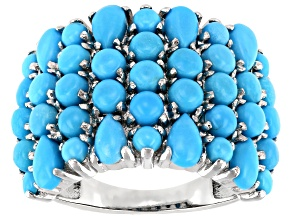 Pre-Owned Blue Turquoise Rhodium Over Silver Band Ring