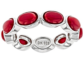 Pre-Owned Red Coral Rhodium Over Silver Eternity Band Ring