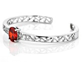 Pre-Owned Orange and White Cubic Zirconia Rhodium Over Sterling Silver Bracelet 6.66ctw