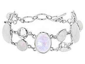 Pre-Owned White Rainbow Moonstone Rhodium Over Sterling Silver Bracelet 52.84ctw