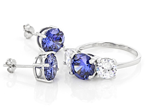 Pre-Owned Blue And White Cubic Zirconia Rhodium Over Sterling Silver Ring and Earrings 11.50ctw