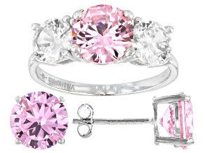 Pre-Owned Pink And White Cubic Zirconia Rhodium Over Sterling Silver Ring And Earrings 11.50ctw