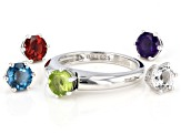 Pre-Owned Multi-Gemstone Rhodium Over Sterling Silver Interchangeable Ring 3.87ctw