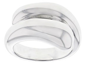 Pre-Owned Sterling Silver Polished Cross Over Band Ring.