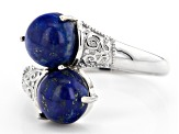 Pre-Owned Blue Lapis Lazuli Rhodium Over Sterling Silver Ring