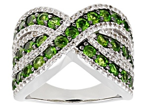 Pre-Owned Chrome Diopside Rhodium Over  Sterling Silver Ring 2.55ctw