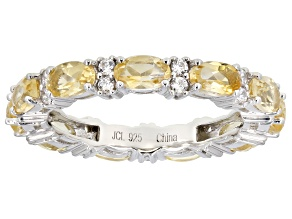 Pre-Owned Citrine Rhodium Over Sterling Silver Band Ring 4.00ctw