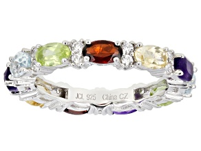 Pre-Owned  Multi-Stone Rhodium Over Sterling Silver Band Ring 4.00ctw