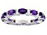 Pre-Owned Amethyst Rhodium Over Sterling Silver Band Ring 3.00ctw