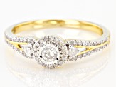 Pre-Owned White Diamond 10k Yellow Gold Cluster Ring 0.33ctw