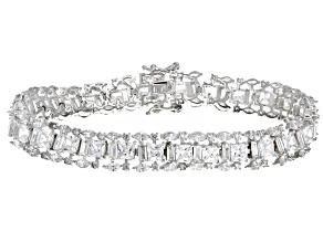 Pre-Owned White Cubic Zirconia Rhodium Over Sterling Silver Tennis Bracelet 33.1ctw
