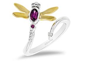 Pre-Owned Enchanted Disney Mulan Ring Rhodolite Garnet & Diamond Rhodium & 14k Yellow Gold Over Silv