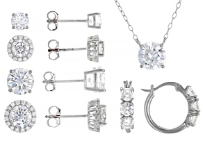 Pre-Owned White Cubic Zirconia Rhodium Over Sterling Silver Necklace And Earrings- Set of 5