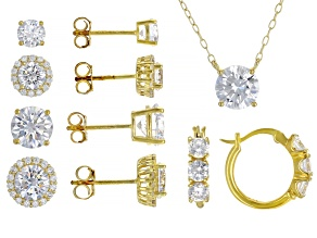 Pre-Owned White Cubic Zirconia 18K Yellow Gold Over Sterling Silver Necklace And Earrings- Set of 5.