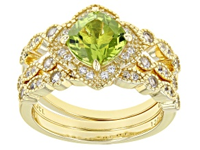 Pre-Owned Green Peridot Rhodium Over Sterling Silver 18k Yellow Gold Over Sterling Silver Ring Set o