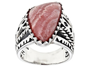 Pre-Owned Pink Rhodochrosite Rhodium Over Silver Ring