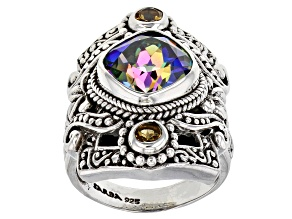Pre-Owned True Picasso™ Quartz And Citrine Sterling Silver Ring 4.90ctw