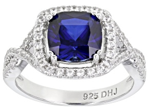 Pre-Owned Lab Created Blue Sapphire Rhodium Over Sterling Silver Ring 2.94ctw