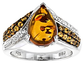 Pre-Owned Orange Amber Rhodium Over Silver Ring .37ctw
