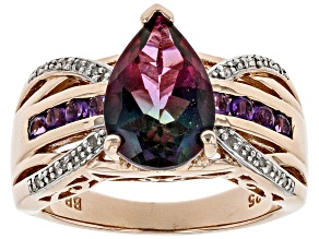 Pre-Owned Multicolor Watermelon Quartz 18k Rose Gold Over Silver Ring 2.64ctw