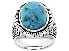 Pre-Owned Turquoise Rhodium Over Sterling Silver Ring