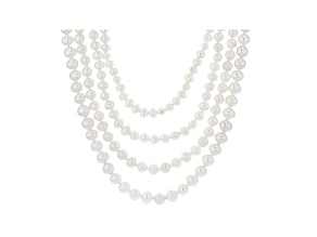 Pre-Owned White Cultured Freshwater Pearl Rhodium Over Sterling Silver Multi-Row Necklace