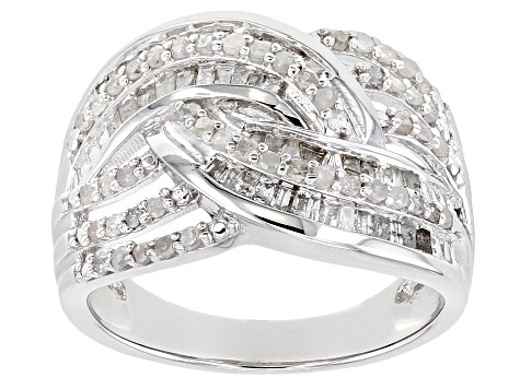 Pre-Owned White Diamond Rhodium Over Sterling Silver Crossover Ring 0.75ctw