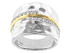 Pre-Owned White Cubic Zirconia Rhodium And 14K Yellow Gold Over Sterling Silver Ring 0.61ctw